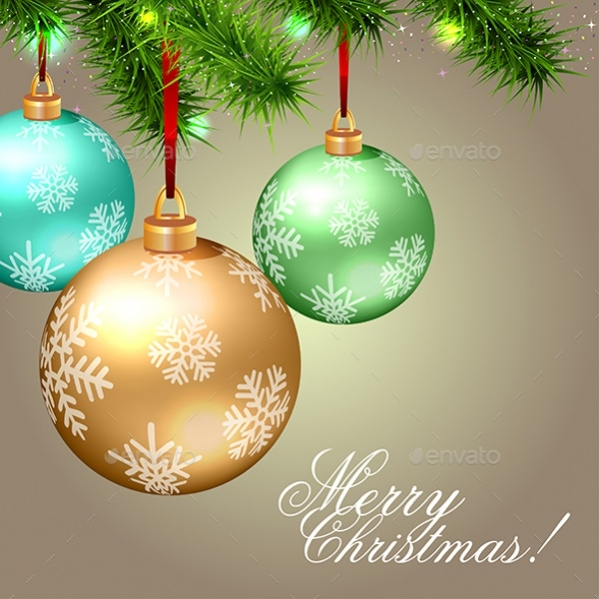Merry Christmas Card With Deco Balls