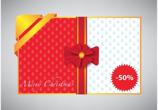 Merry Christmas Card with Gift Ribbon