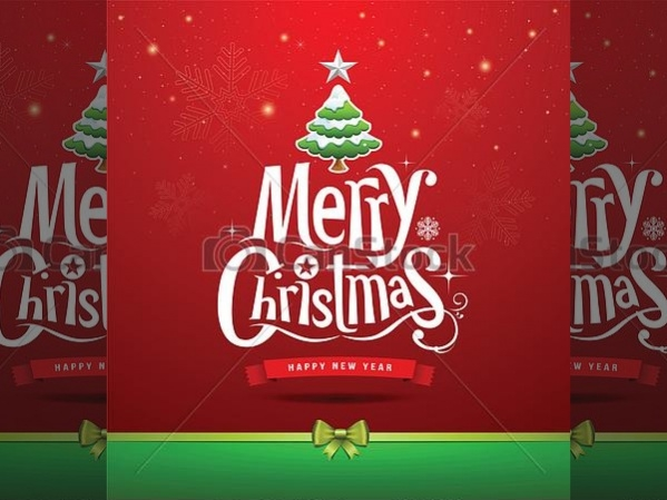 Merry Christmas Lettering Design Image