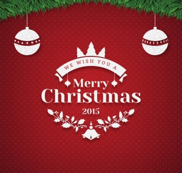 Merry Christmas greeting with baubles