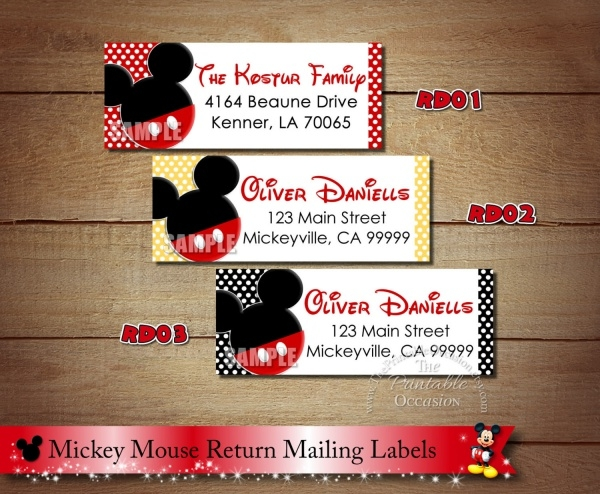 Mickey Mouse Return Address Label