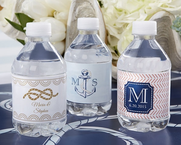 Nautical Wedding Water Bottle Labels