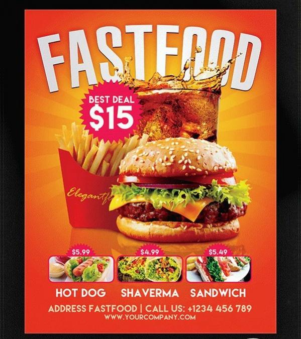 Printable Fast Food Flyer Design