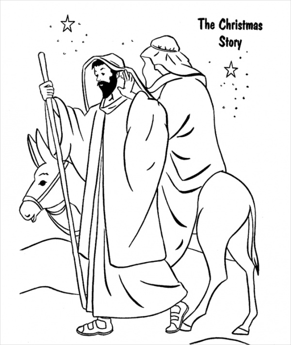 Printable Religious Christmas Coloring Page