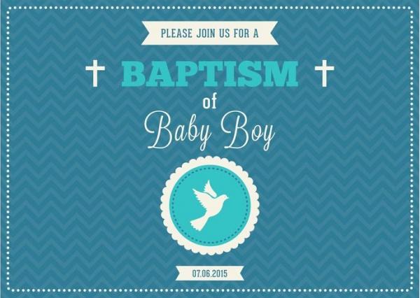 Printable baby Boy Baptism Invitation