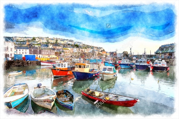 Realistic Boats Watercolor Painting