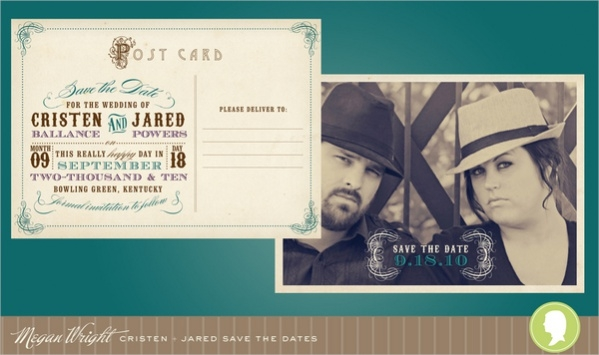 Retro Postcard Save the Date Design
