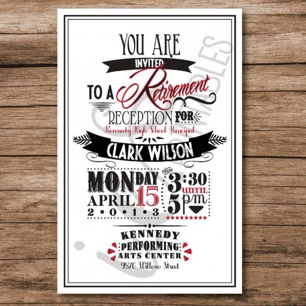 Retro Reception Invitation