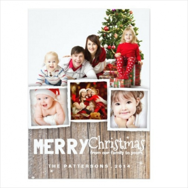 Rustic Wood Merry Christmas Photo Card