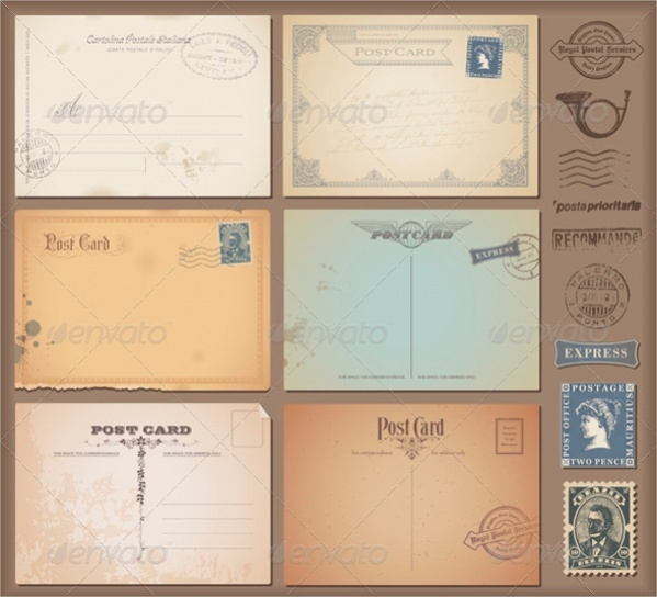 Set Vintage Postcard