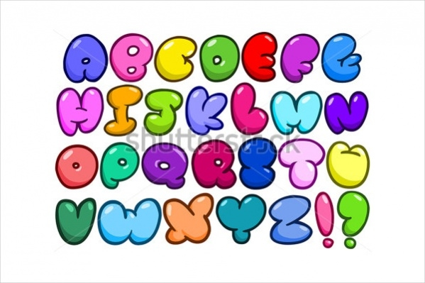 Set of Bubble Alphabets