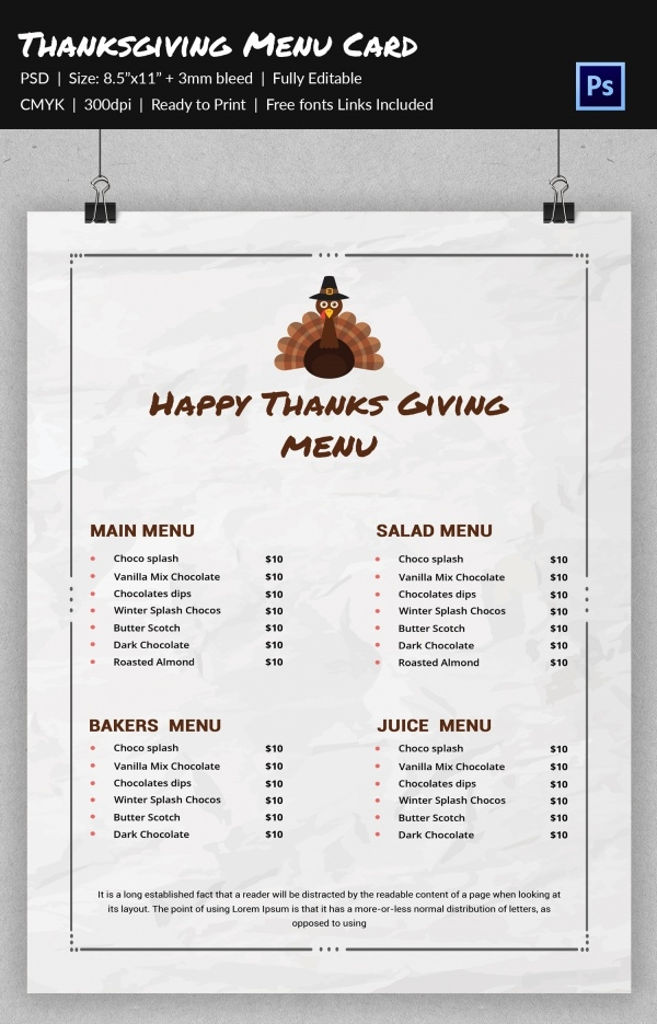 Simple Diy Thanksgiving Menu