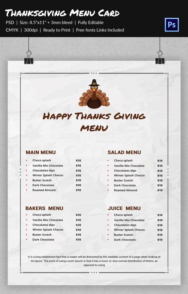 Simple Diy Thanksgiving Menu
