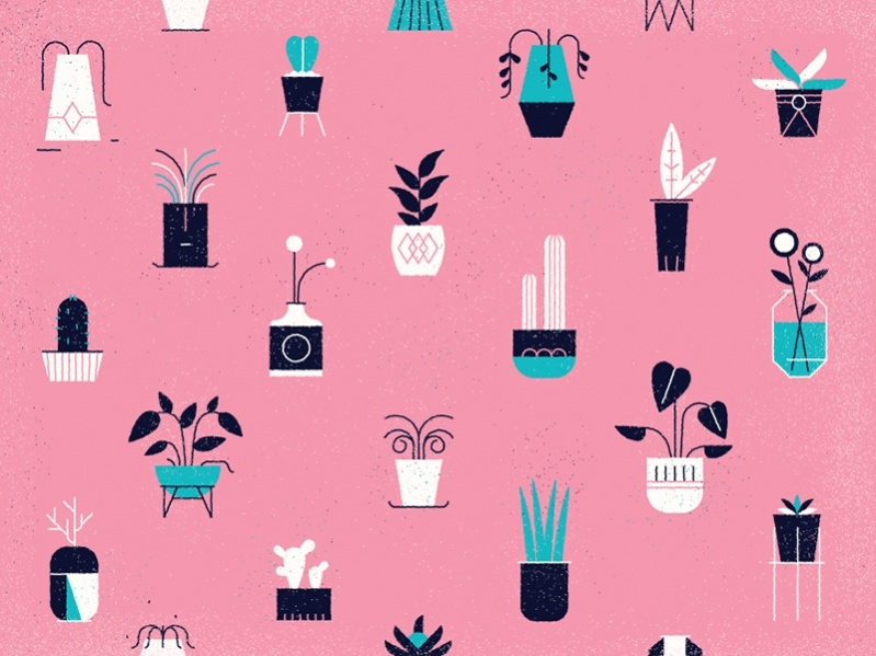 simple potted plants pattern design