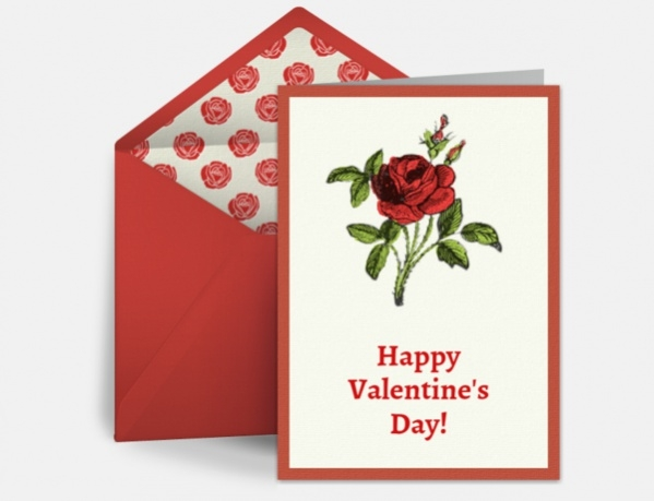 Simple Red Rose Valentine Ecard