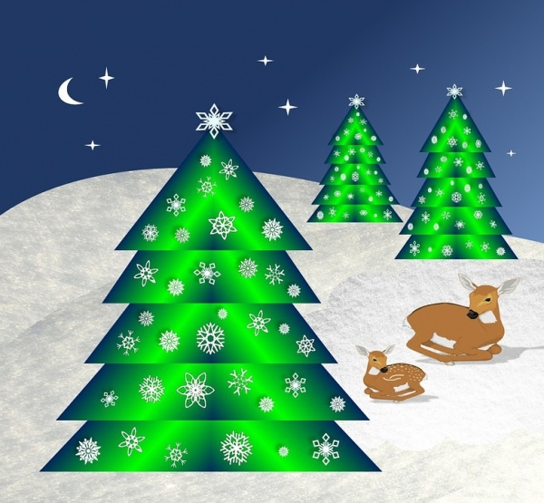 Snow Flake Christmas Tree Image