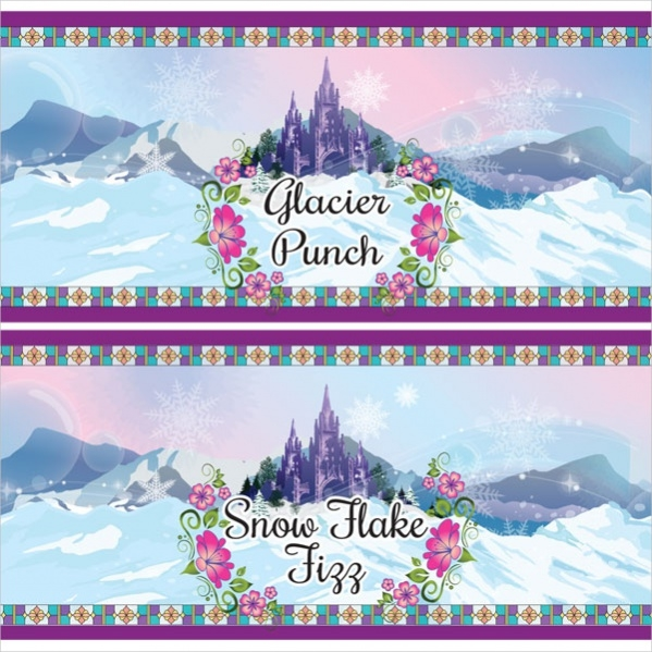 Snow Flake Water Bottle Labels