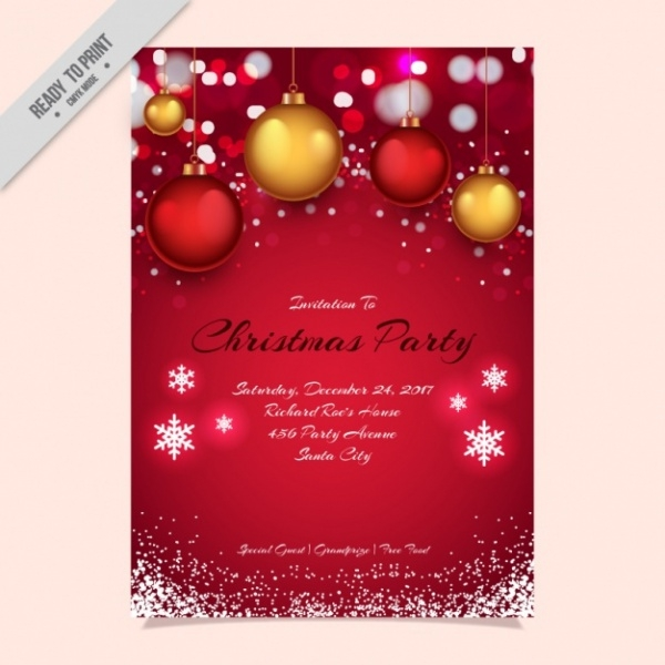 Snowflakes Christmas Party Invitation