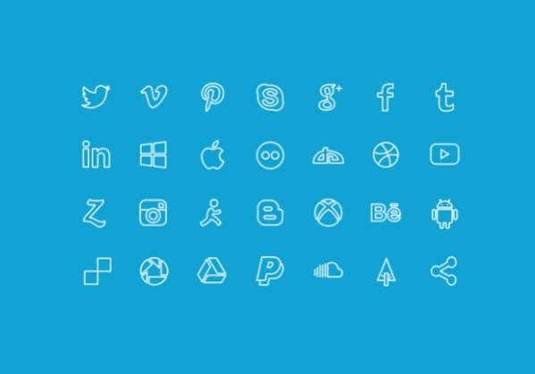 Social Media Outline Icons