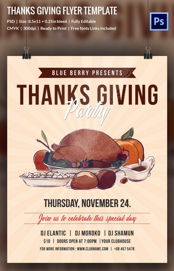 Thanks Giving Party Flyer
