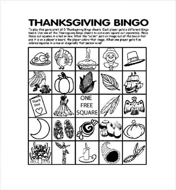 thanksgiving bingo board coloring pages