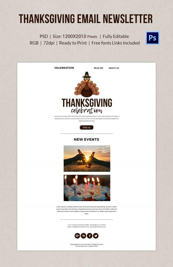 Thanksgiving Celebration Email Newsletter