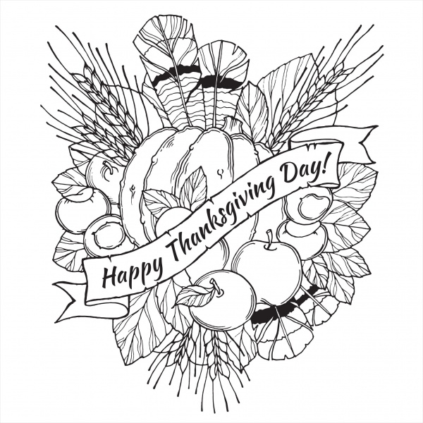 19 Best Thanksgiving Coloring Pages JPG AI Illustrator Download