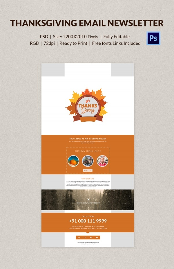 Customizable Thanksgiving Email Letter