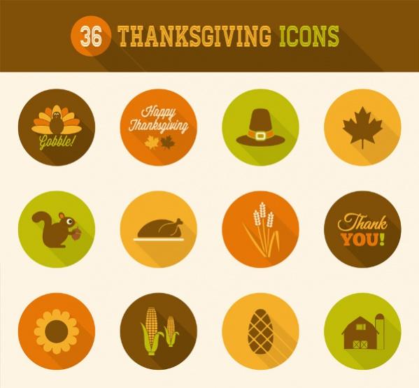 Thanksgiving Flat Icons Set