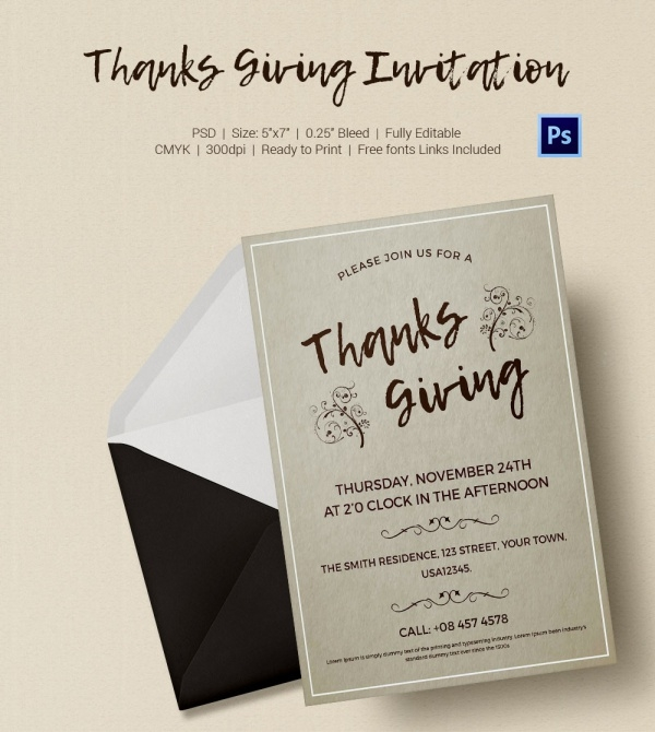 Thanksgiving Invitation Card Sample