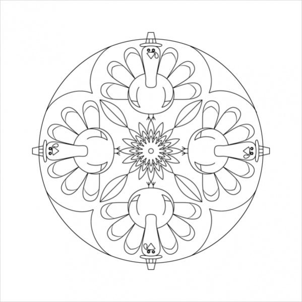 Thanksgiving Mandala Coloring Pages