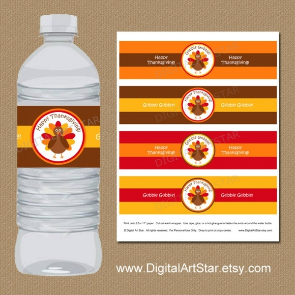 Thanksgiving Water Bottle Labels