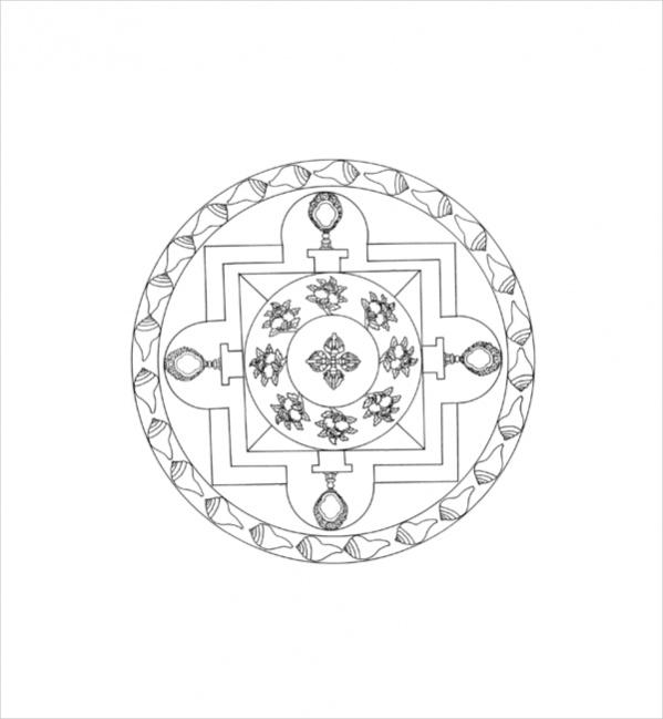 Tibetan Mandala Coloring Pages