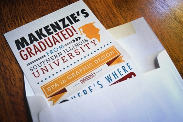 Typography Graduation Print Invitation