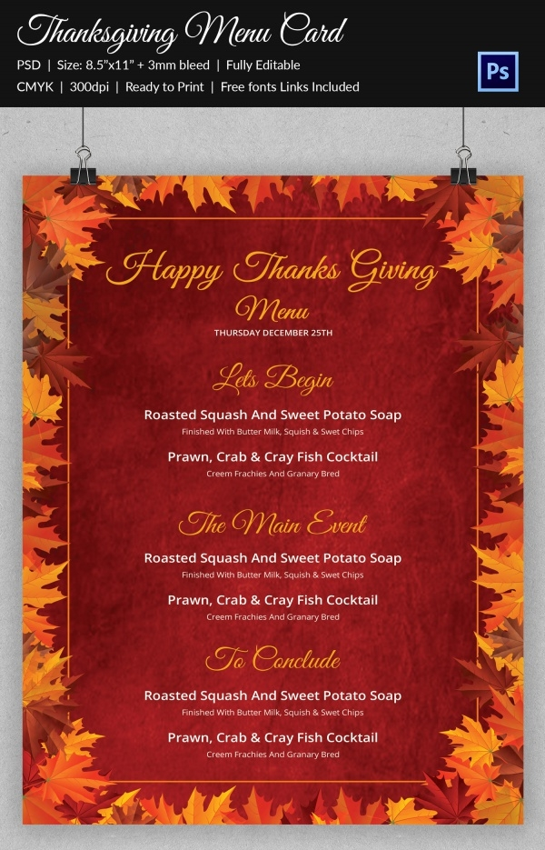 Unique Thanksgiving Menu Card