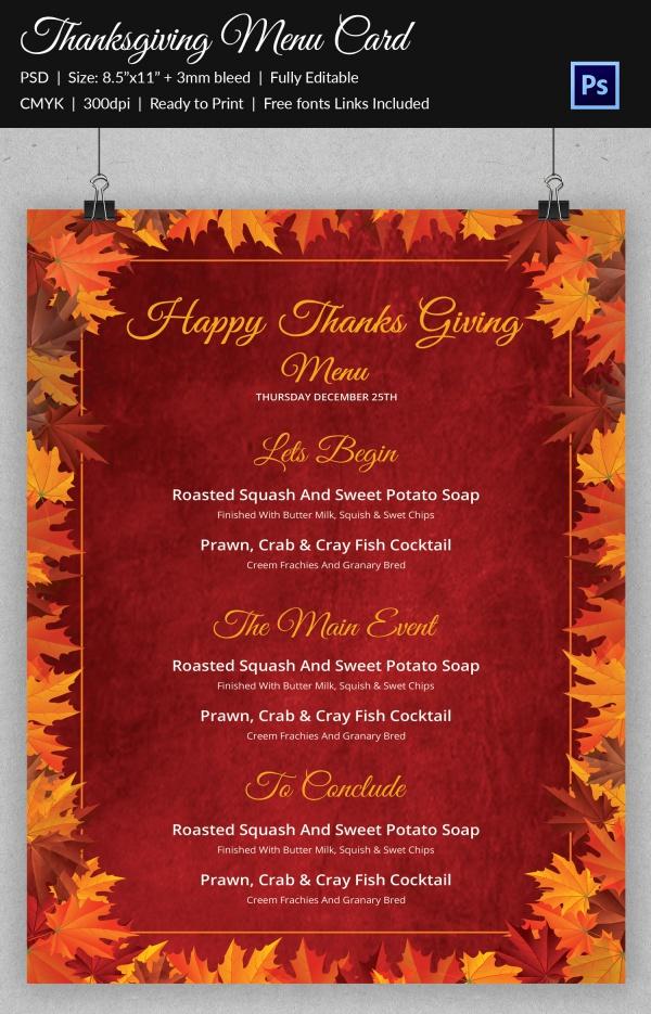 Unique Thanksgiving Menu Card
