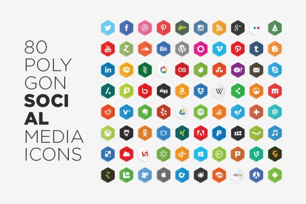 Vector Polygon Social Media Icons