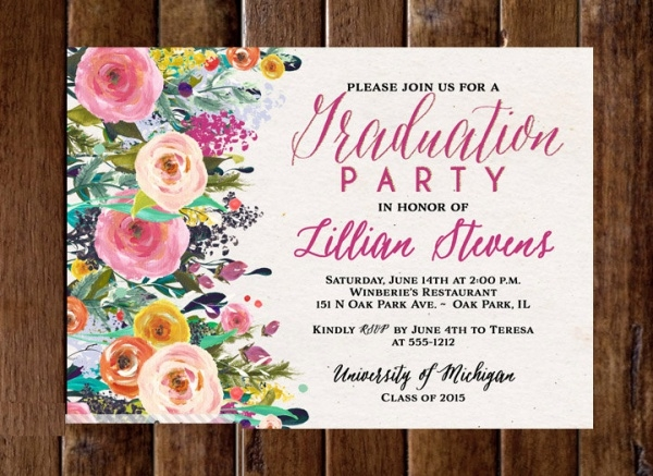 Watercolor Graduation Party Invitation