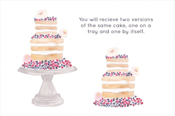 Wedding Watercolor Cake Clipart