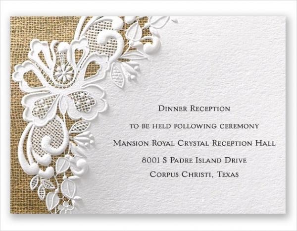 White Lacy reception Invitation
