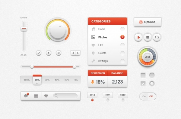 White Ui Web Buttons Kit