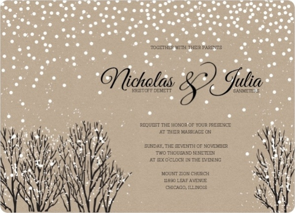 Winter Snow Wedding Invitation Wording
