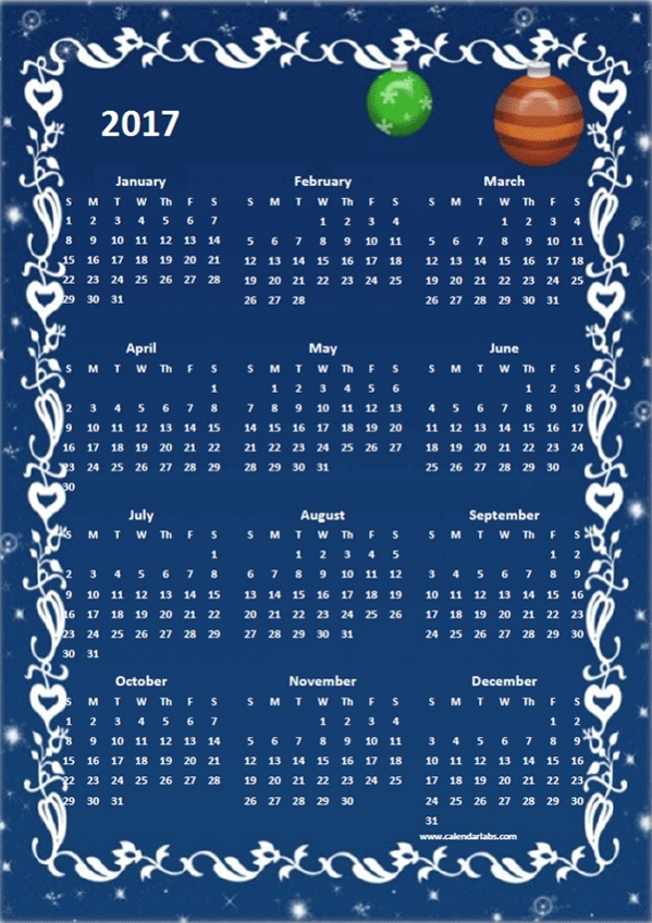 Yearly Calendar Design with Blue Background