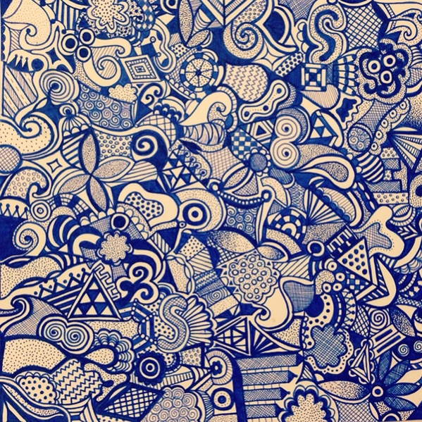 Cool Blue Zentangle Pattern