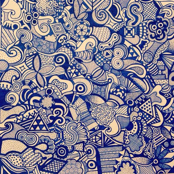Cool Blue Zentangle Pattern