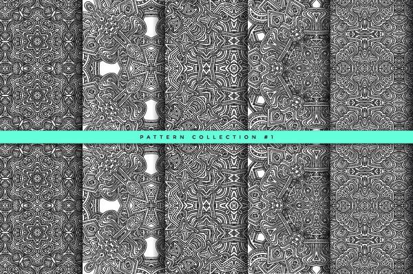 zentangle seamless pattern set