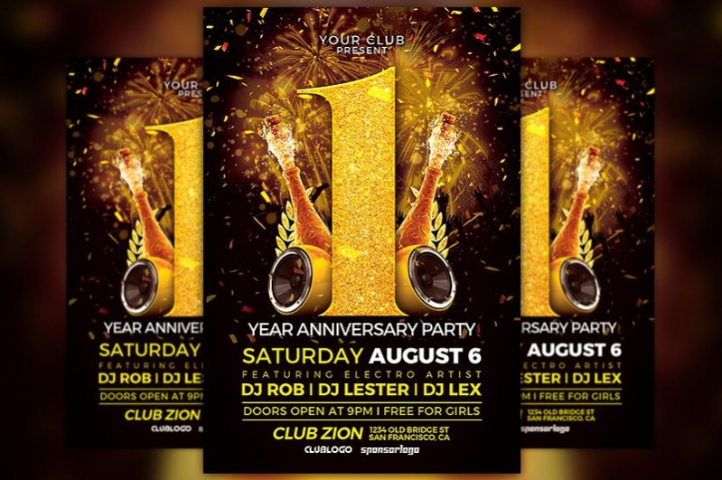 anniversary party flyer template awesomeflyer com preview