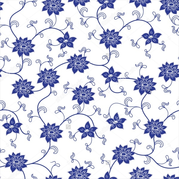 chinese porcelain seamless pattern with flowers