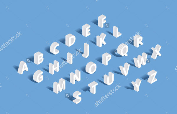 3D Isometric Alphabet Letter