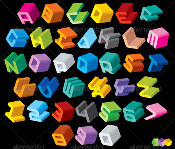 3D Multicolored Letters
